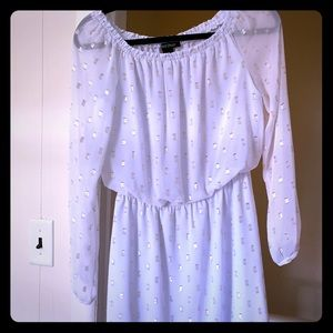 Off the shoulder white and gold dress, worn once!